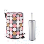 W Unlimited Designer Dotty Polka Pattern Printed Step-on Trash Bin with Toilet Brush
