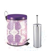 W Unlimited Designer Riviera Fuchsia Purple Pattern Printed 5L Step on Trash Bin with Toilet Brush