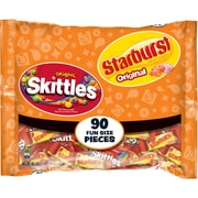 Skittles and Starburst Original Candy Bag, 90 Fun Size Pieces, 39.1 oz (WMW34777)