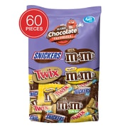SNICKERS, M&M'S & TWIX Individually Wrapped Candy, 2 lb. 60 Piece Variety Mix Bag (225-00033)