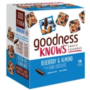 goodnessKNOWS Blueberry, Almond & Dark Chocolate Gluten Free Snack Square Bars, Pack of 18 (225-00048)