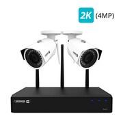 Defender – Système sécurité 1 To 4 canaux, sans fil 4MP 2K avec visionnement à distance, 2 caméras Wi-Fi grand angle (W2K1T4B2)