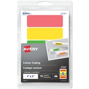 """Avery Print or Write Removable Colour-Coding Labels, 1"""" x 3"""", Rectangle, Assorted, 75/Pack (2334)"""