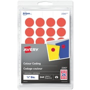 """Avery® Print or Write Removable Colour-Coding Labels, 3/4"""" Round, 240/Pack (2343)"""