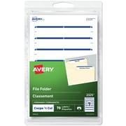 Avery - Étiquettes permanentes pour chemises de classement, 3 1/2 po x 1/3 po, bande bleue, paq./70 (2327)
