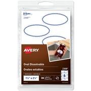 Avery Étiquettes ovales solubles, 2 1/4 po x 1 1/4 po, bordure noire, paq./30 (2368)