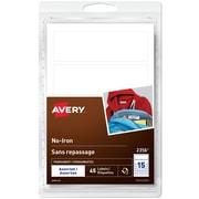 Avery Étiquettes permanentes sans repassage pour vêtements, inscriptibles, blanc, formes assorties, paq./45 (2356)