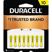 Duracell Easy Tab Hearing Aid Batteries, Size 10, 8/Pack (DA10B8ZM10)