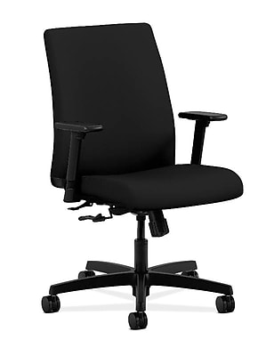 HON Ignition Fabric Low-Back Task Chair, Height- and Width-Adjustable Arms, Black NEXT2018 NEXT2Day