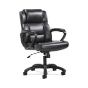 HON Sadie Leather Executive Chair, Fixed Padded Arms, Black (BSXVST305)