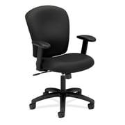 HON Mid-Back Task Chair, Center-Tilt, Adjustable Arms, Black Fabric NEXT2018 NEXT2Day