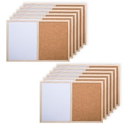 """CTG Brands Small Half Cork and Half White Board, 11.5 x 17.5"""", White, Wood, Beige, 12/Pack"""