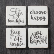 Life Is Beautiful Resin Coaster, 4/Pack (9044-CM1211-S4)