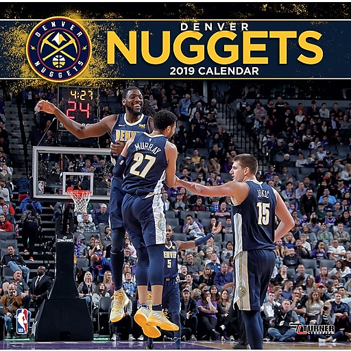 "2019 Turner 12"" X 12"" Denver Nuggets, Team Wall Calendar"