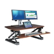 """Seville Classics AIRLIFT® Pneumatic Dual Monitor Sit-to-Stand Adjustable Riser Converter Desk, 35.4"""" Wide, Walnut (OFF65840)"""