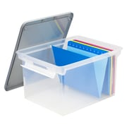 Storex Letter/Legal File Tote with Locking Handles, Clear