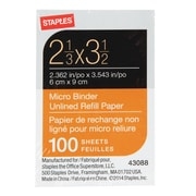 "Staples Micro Binder Unlined Refill Paper, 2-1/3"" x 3-1/2"", 100 Sheets"