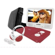 "Sylvania 9"" Portable Swivel Screen DVD Player with Deluxe Bag and Matching Headphones, Red"