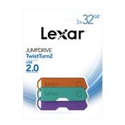 Lexar - Clé USB 2.0 JumpDrive TwistTurn2, 32 Go, paq./3
