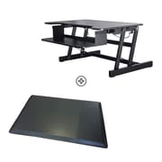Rocelco ADR+MAFM Adjustable-Height Sit/Stand Desk Riser with Medium Anti-Fatigue Standing Mat, Black
