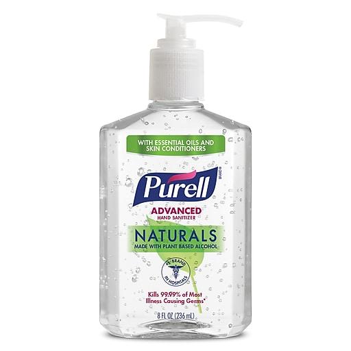 PURELL® Advanced Hand Sanitizer Naturals with Plant Based Alcohol, Citrus Scent, 8 fl oz Pump Bottle (9626-12-CMR)