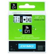 """DYMO D1 Standard 45013 Label Maker Tape, 1/2""""W, Black On White"""