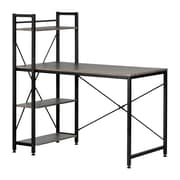 South Shore Evane Industrial Desk with Bookcase, Oak Camel