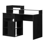 South Shore Holland Desk with Hutch and Storage, Black Oak
