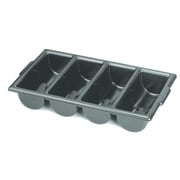 """Globe Cutlery Bin Tray with 4-Compartments, 21"""" x 12"""" x 4"""", Black, 12/Pack (1065B)"""