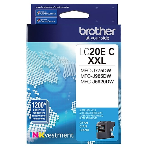 Brother LC 20 Cyan Ink Cartridge, Extra High Yield (LC20EC)
