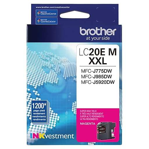 Brother LC 20 Magenta Ink Cartridge, Extra High Yield (LC20EM)