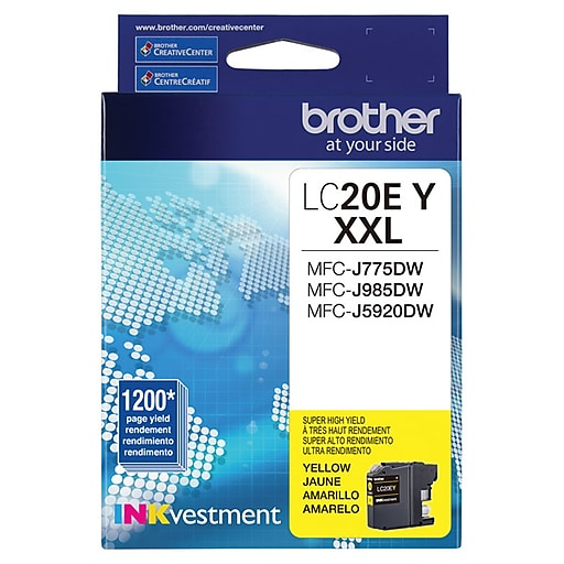 Brother LC20 Yellow Ink Cartridge, Extra High Yield (LC20EY)