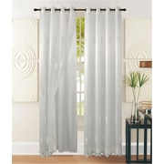 """H & A Collection Ella Premium Luxurious Sheer Voile Window Grommet Curtain with Liner, Embroidered White Flowers, 54"""" x 90"""""""