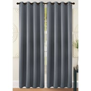"""H & A Collection Ultra Thick and Warm Thermal Insulated Blackout Window Curtain with Silver Grommet, Grey Rampart, 54"""" x 84"""""""