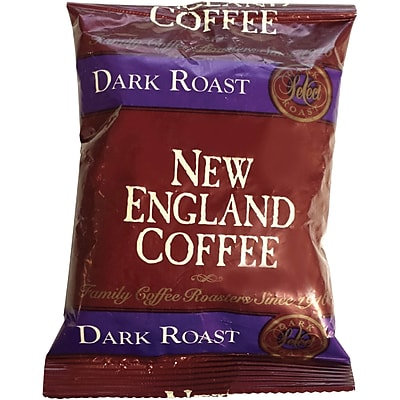 New England French Roast Coffee Portion Pack, French Roast, Dark, 2.5 oz Per Pack, 24/Carton