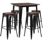 Flash Furniture – Ensemble de table, hauteur de bar en métal/dessus en bois noir carré, 31,5 po