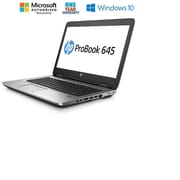 HP - Portatif 645 G2 remis à neuf, 14 po, AMD PRO A6-8500B, 1,6 GHz, DD 500 Go, DDR3 4 Go, Windows 10 Pro