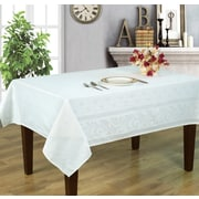 Home Secret Engineer Jacquard Waterproof Tablecloth, White Stella Pattern