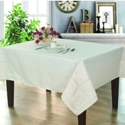 Home Secret Engineer Jacquard Waterproof Tablecloth, Ivory Stella Pattern