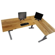 AnthroDesk L-Desk Electric Standing Desk with Oak Veneer Tabletops
