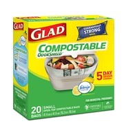 Glad 100% Compostable Bags, Small, Lemon Scent, 20 Bags/Pack, 12 Packs/Case (CL78162)