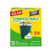 Glad Compostable Bags, Tall, Lemon Scent, 10 Bags/Pack (78163FRM5)