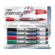 BIC Magic Marker Brand Dry Erase Liquid Markers, Fine Tip, Assorted, 4/Pack