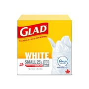 Glad White Garbage Bags, Small, 25 L, Febreze Fresh Clean Scent, 100 Bags/Pack (CL30220)