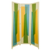 """Kiera Grace Austin Vance Room Divider - 47"""" x 71"""", Three Panel, White with Multicolored Abstract Pattern"""