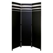 "Kiera Grace Stockholm Dahl 3-Panel Room Divider - 47"" x 71"", Black and White"