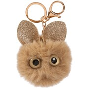 Merangue – Porte-clés à pompon souris brune avec oreilles