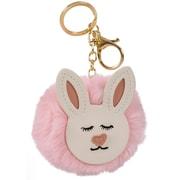 Merangue – Porte-clés pompon rose à motif de lapin