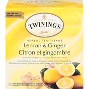 Twinings Lemon & Ginger Enveloped Tea Bag, 50/Pack