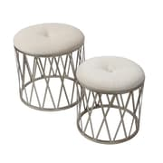 Diamond Stool with Cushion Seat , Set of 2